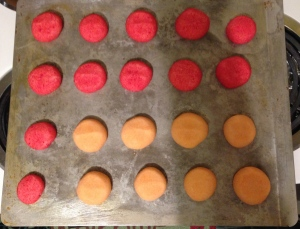 Raspberry and orange cookies out of the oven.