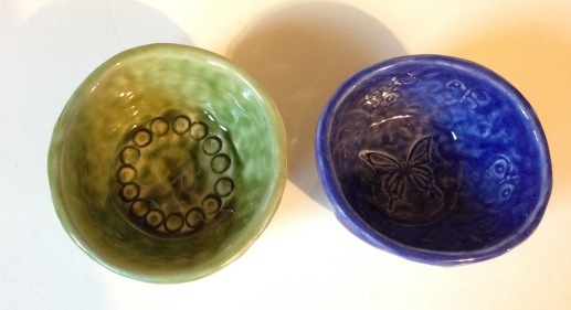 Inside the pinch pots