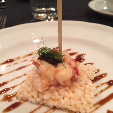 Slow Cooked Canada Lobster with Tangerine & Citron Honey Sauce on Chinese Rice Cracker