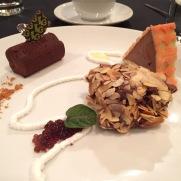 A Study of Chocolate: Nut crested Ganache; Raspberry & Rhubarb Torte; Semifreddo with Pattern Sponge