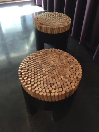 Seats made of about 4 inch dowels. Surprisingly comfortable.