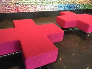 Benches in the lobby