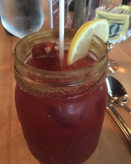 My Caesar at the Cafe at the Rooms in St. John's. Much spicer than my usual Caesar (Hello Sriracha) with a spicy sausage as a garnish.