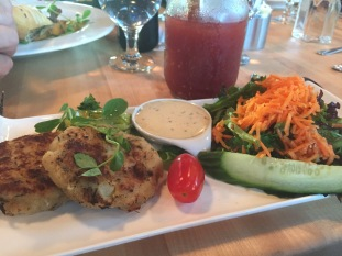 Cod cakes at the Cafe at the Rooms in St. John's