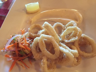Calamari from Newfoundland squid. I'm not a huge calamari fan, but this was good. (Nicole's Cafe on Fogo Island)
