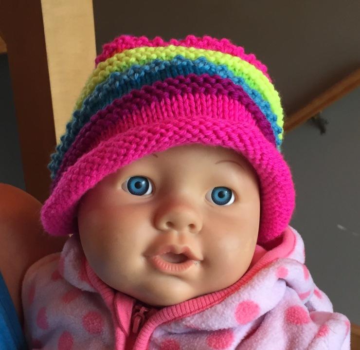 Rainbow Marley hat in Knit Picks Swish Brights