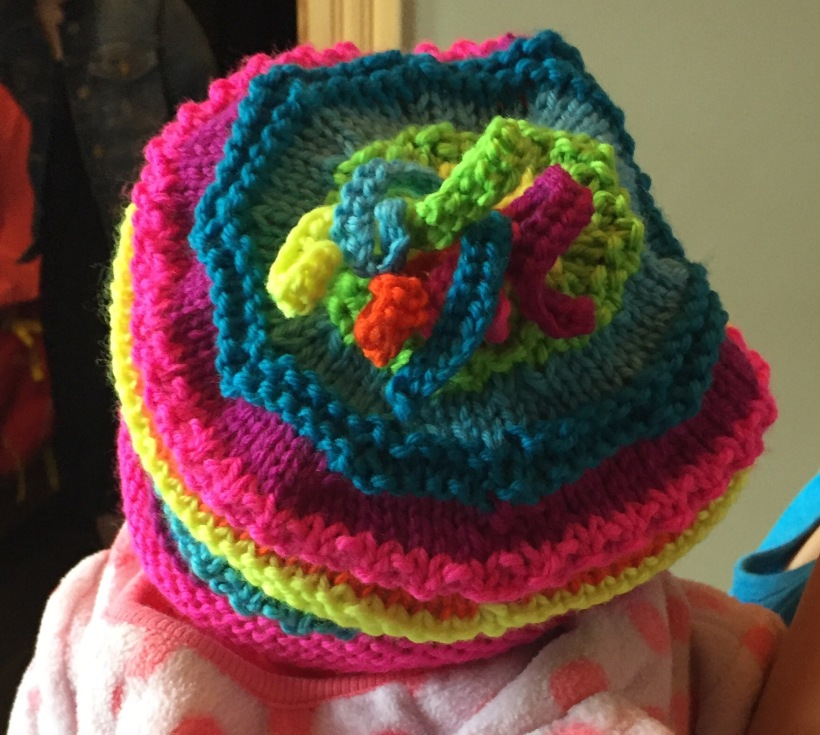 Rainbow Marley hat in Knit Picks Swish Brights