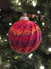 knit Christmas ornament spiral sock yarn