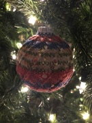 knit Christmas ornament spiral sock yarn