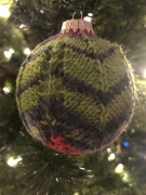 knit Christmas ornament chevron sock yarn