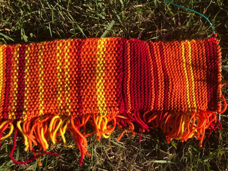 Temperature scarf in yellow, orange, and red