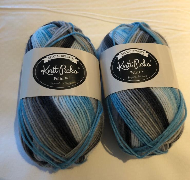 Yarn Knit Picks Felivi blue stripe