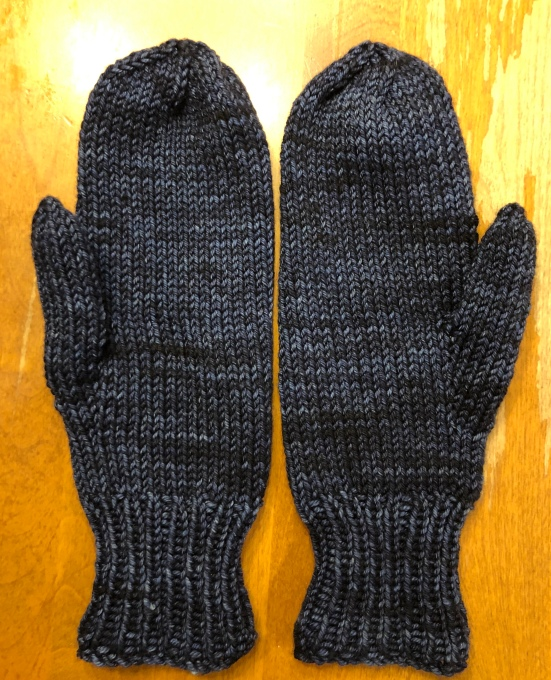 navy blue and black mittens